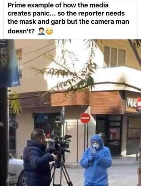 prime example of how media creates panic reporter needs mask but camera man doesnt