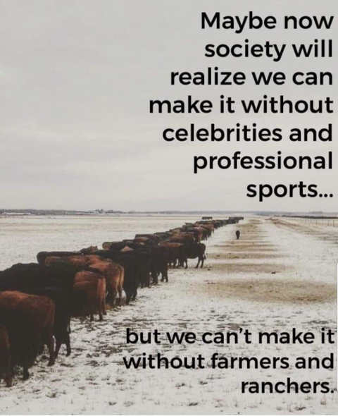 quote maybe society realizes dont need celebrities sports needs farmers ranchers