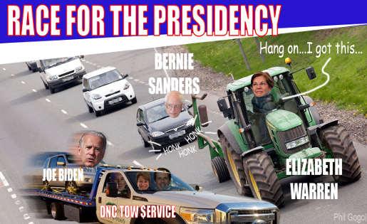 race for presidency warren biden sanders dnc crash
