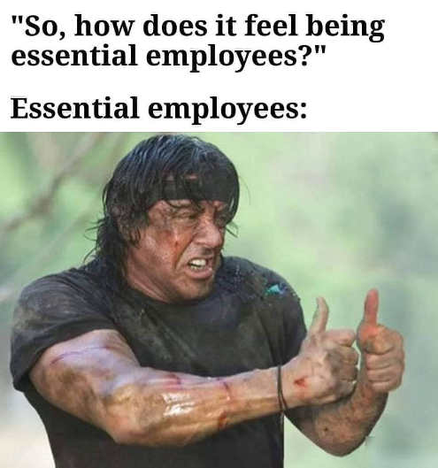 rambo how does it feel being essential employee