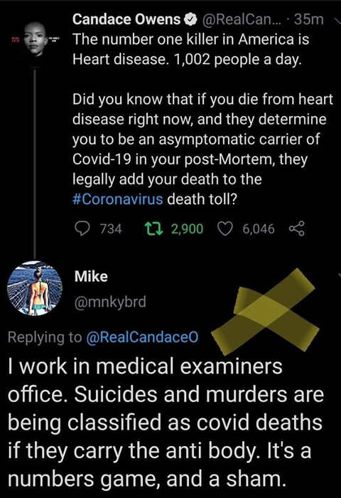 tweet candace owens mike suicide murder heart attack added to covid death toll