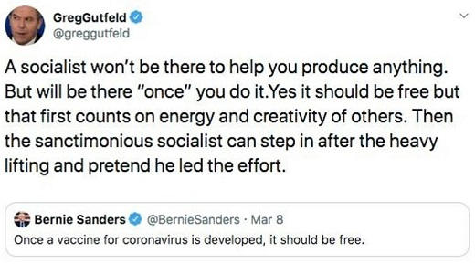 tweet greg gutfield socialist wont be there for you when you produce it but will take credit once developed bernie sanders