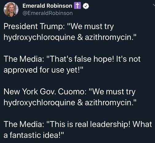 tweet hydroxychloroquine trump suggest false hope cuomo real leadership