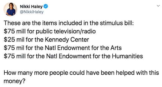 tweet nikki naley items in stimulus bill npr kennedy center endowment for arts humanities