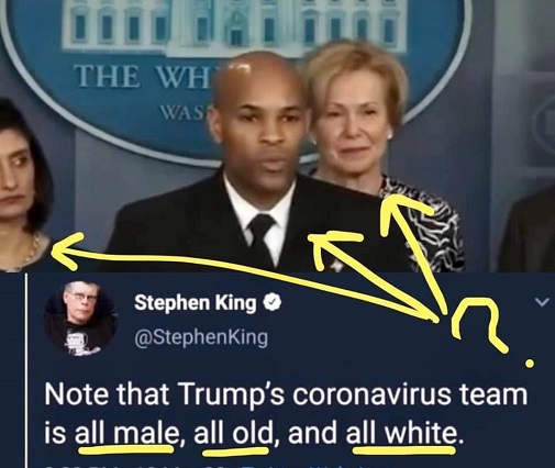 tweet note trumps coronavirus team all male old white reality