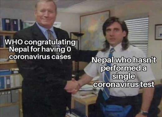who congratulating nepal for 0 cororavirus cases nepal not performing single test