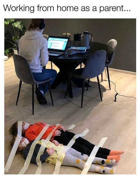 working from home as parent kids taped to ground