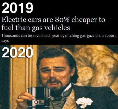 2019 electric cars cheaper than gas 2020 drinking oil