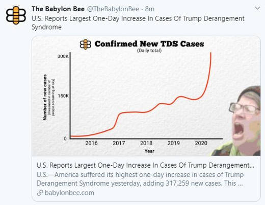 babylon bee us reports largest one day increase in cases of tds trump derangement sydrome