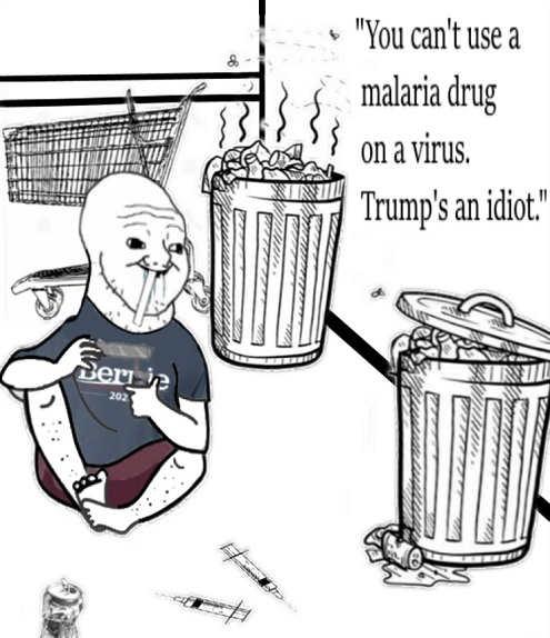 bernie drug addict supporter cant use malaria drug on coronavirus trump is an idiot