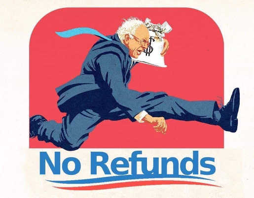 bernie sanders running off with money no refunds