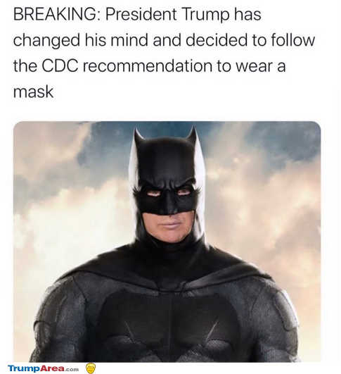 breaking president trump now wearing mask batman