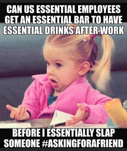 can us essential employees get bar drinks before slap someone askingforafriend