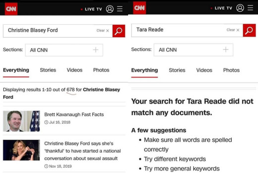 cnn converage christine blasey ford compared to tara reade