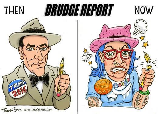 drudge report then 2016 trump now orange man bad run by google angry woman