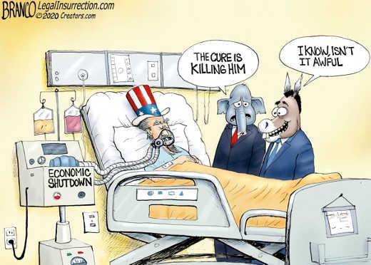 economic shutdown republican cure is killing him democrats happy i know isnt it awful