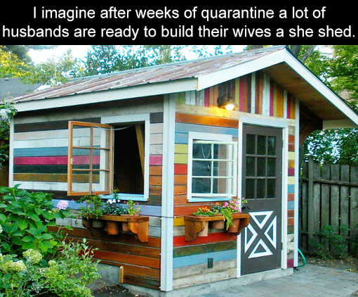 imagine after weeks of quarantine husbands ready to build wives she shed