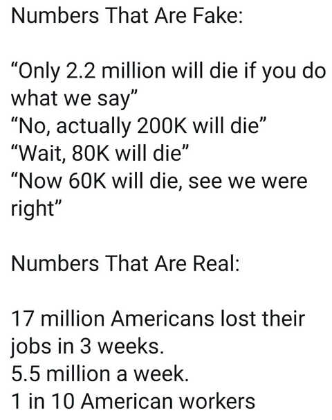 numbers that are fake millions thousands will die real lost jobs