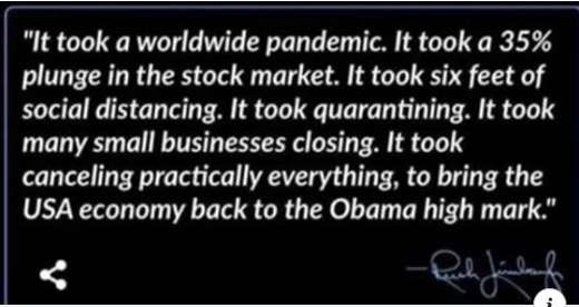 quote took worldwide pandemic shock market plunch social distancing closing small businesses to bring to obama economy rush limbaugh