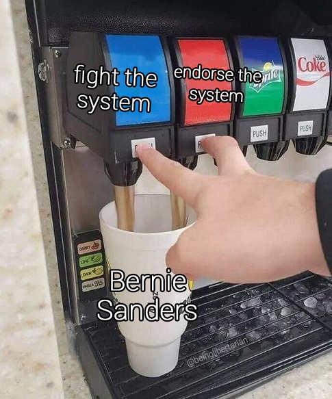 soda machine fight system endorse system bernie sanders