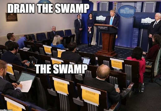 trump drain the swamp media white house press corps
