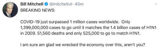 tweet bill mitchell news coronavirus pass 1 million cases billions behind h1n1