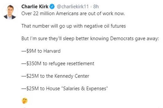 tweet charlie kirk 22 million unemployed but money for harvard refugee resettlement house salaries