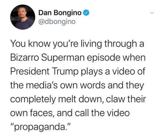 tweet dan borgino bizarro trump superman plays video of media own words melt down call propaganda.jp[g