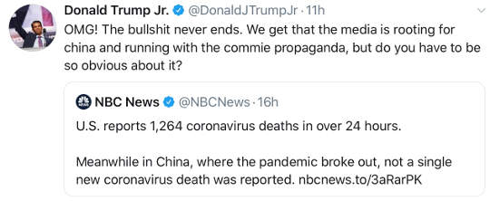 tweet donald trump jr nbc news china no new deaths