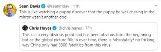 tweet sean davis chris hayes china deaths discovery like puppy chasing self in mirror