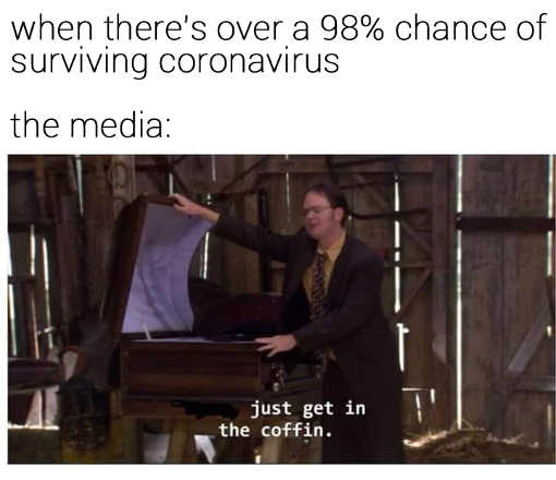 when theres over 98 percent chance of surviving coronavirus media just get in the coffin