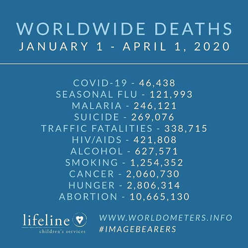 worldwide deaths january to april covid 19 flue malaria cancer abortion