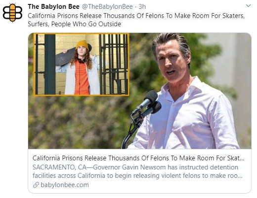 bablylon bee california prisons release felons make room for skaters go outside