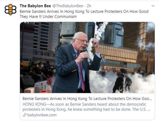 babylon bee bernie sanders arrives hong kong lecture protesters how good under communism