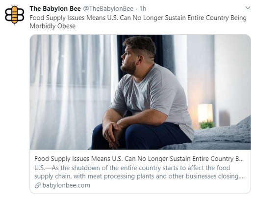 babylon bee food supply issues mean us can no longer sustain entire country being morbidly obese