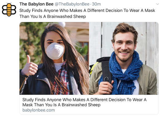 babylon bee study finds anyone different mask view sheep