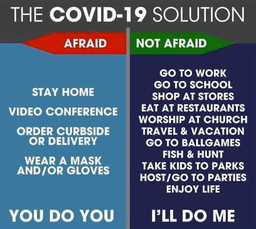 covid 19 solution you do you ill do me not afraid