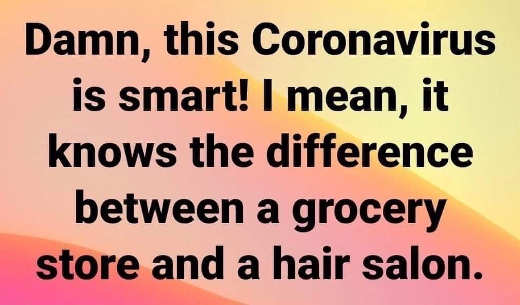 damn coronavirus smart knows difference between grocery and hair salon
