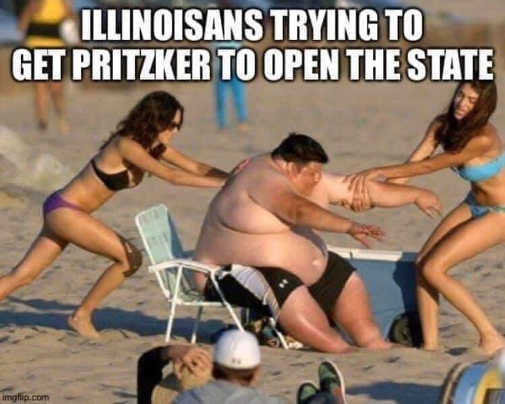 illinoisans trying to get pritzker to open state dragging fat guy beach