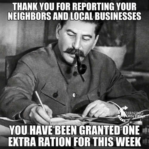 joe stalin thank you for reporting neighbors businesses extra ration for you
