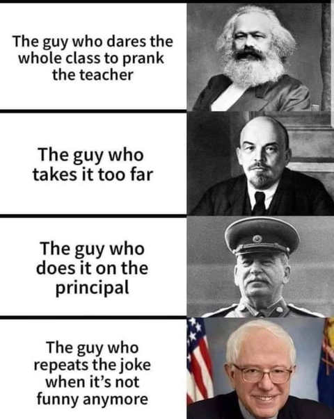 marx lenin stalin sanders repeating prank