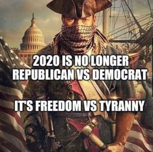 message 2020 no longer republican vs democrat freedom vs tyranny