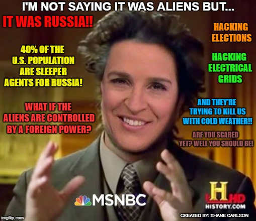 msnbc maddow aliens russia sleeper agents trying to kill us are you scared