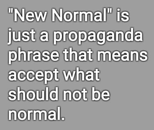 new normal just propaganda means accept what should not be normal