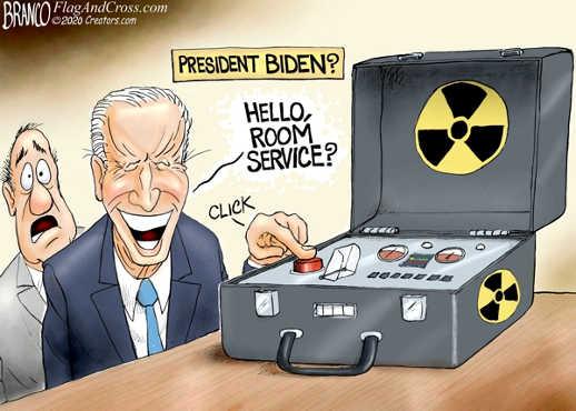 president joe biden hello room service pressing nuclear button