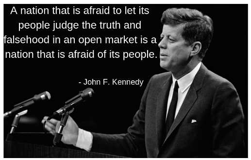 quote jfk nation afraid to let people judge truth nation afraid of citizens