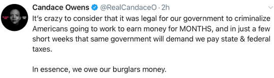 tweet candace owens government criminalize work demand taxes