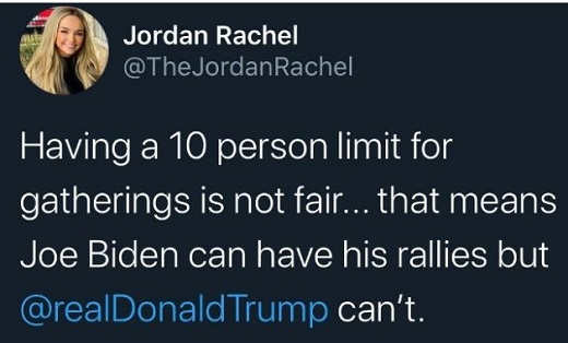 tweet jordan rachel having 10 person limit not fair biden can have rallies not trump