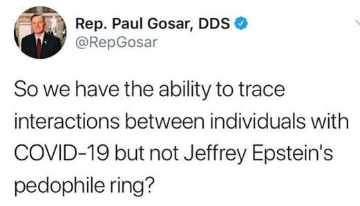 tweet so we have ability to trace interactions covid 19 but not epstein pedophile ring