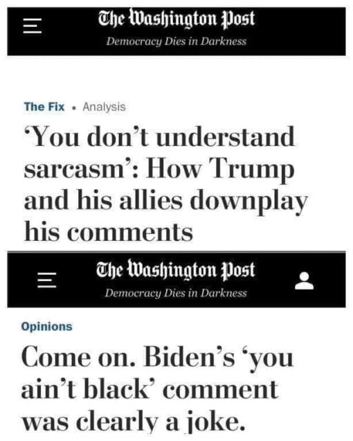 washington post trump sarcasm compared to biden joke